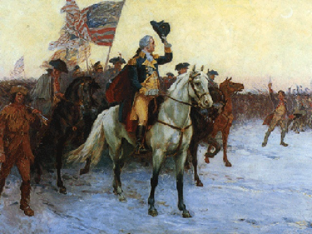Pintura del General Washington montado en una batalla